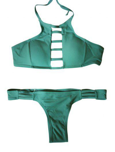 Spaghetti Strap Tie-Up Hollow Out Bikini Set - Green L