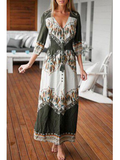 Feather Print 3/4 Sleeve Maxi Dress - White And Green Xl