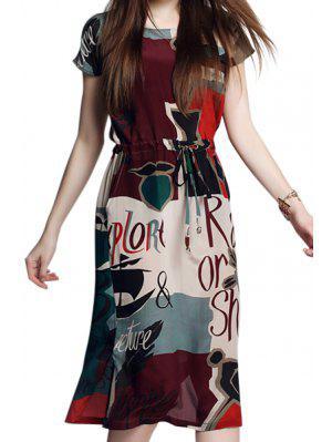 Letter Print Short Sleeve Slit Dress - S