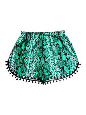 Elastic Waist Laciness Printed Shorts - Green S