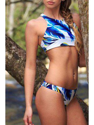 Feather Print Round Collar Bikini Set - Blue And White S