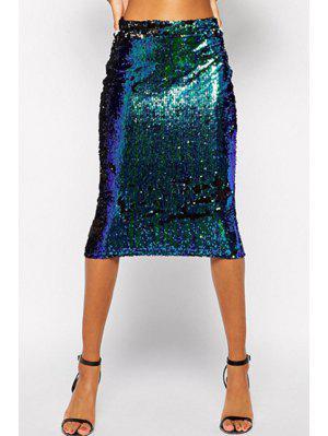 Green Sequins Midi Skirt