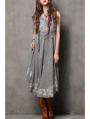 Floral Embroidery Spaghetti Strap Flare Dress