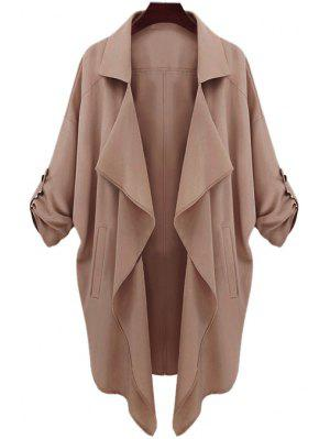 Long Sleeve Solid Color Trench Coat - Camel Xl