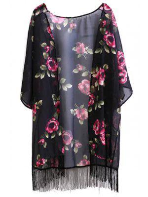 Floral Print Fringe Collarless Half Sleeve Kimono