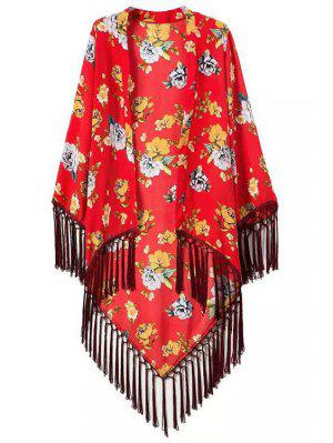 Floral Printed Tassel Splicing Long Sleeve Kimono - Red S