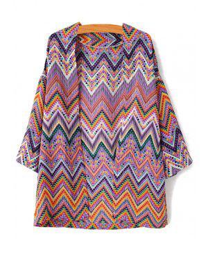 Zig Zag Print Collarless 3/4 Sleeve Kimono - Purple L