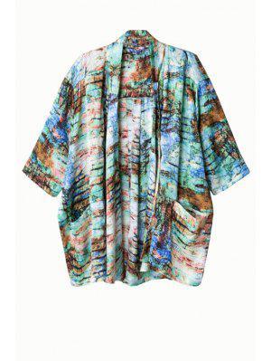 Imprimer Kimono à Demi Manches Sans Collier - Vert L
