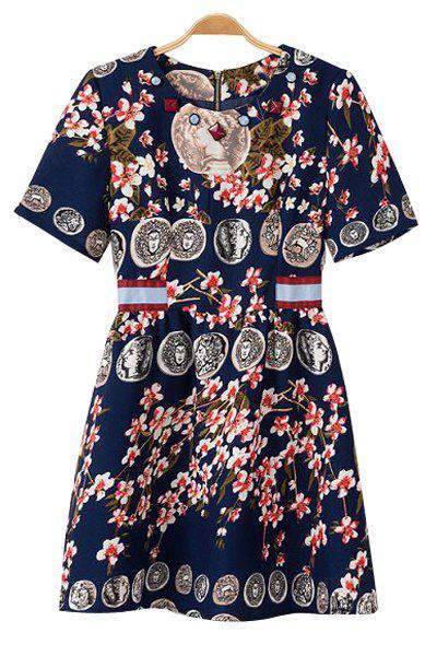 Figure Floral Print Short Sleeve Dress - PURPLISH BLUE M