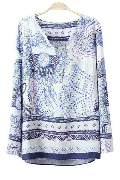 Polka Dot Stampa Floreale Manica Lunga T-Shirt
