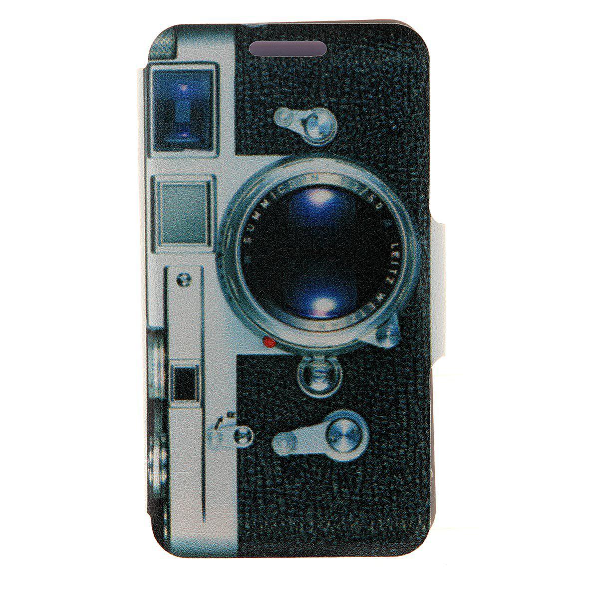 Kinston Camera Pattern Housse de cuir en cuir PU avec support et support de carte pour Nokia Lumia 625