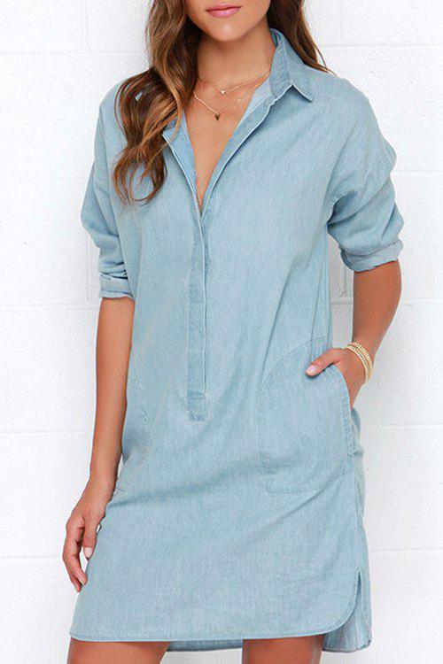 Denim Blue Turn-Down Collar Long Sleeve Dress - BLUE XL
