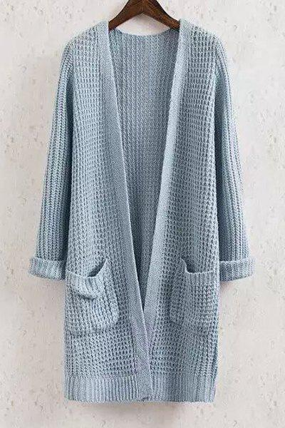 Collarless Solid Color Pocket Long Sleeve Cardigan - BLUE M