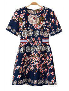 Figure Floral Print Short Sleeve Dress - PURPLISH BLUE S