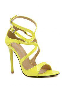 eb7eb18192e 38% OFF  2019 Patent Leather Sexy High Heel Sandals In YELLOW