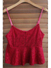 Buy Spaghetti Strap Solid Color Ruffled Lace Tank Top - WINE RED ONE SIZE(FIT SIZE XS TO M)