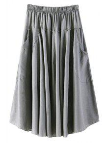 Buy Solid Color Pocket Elastic Waist Long Skirt - GRAY ONE SIZE(FIT SIZE XS TO M)