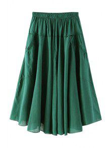 Buy Solid Color Pocket Elastic Waist Long Skirt - BLACKISH GREEN ONE SIZE(FIT SIZE XS TO M)