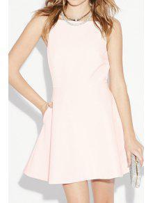 Spaghetti Strap A Line Backless Dress - Pink 2xl