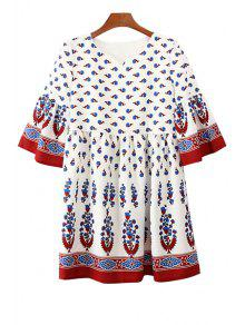 Buy Sweet Style V-Neck Flare Sleeve Printed Bohemian Women's Mini Dress - WHITE L