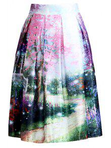 Buy Scenery Print Line Midi Skirt - COLORMIX ONE SIZE(FIT SIZE XS TO M)