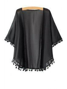 Solid Color Tassle Splicing Half Sleeve Kimono - Black