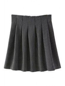 Buy Striped High Waisted Line Skirt - BLACK S