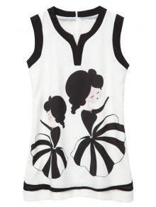Two Girls Print Color Block Sleeveless Dress
