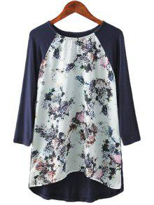 Floral Print Splicing Long Sleeve T-Shirt - S