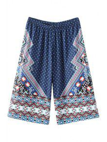 Buy High-Waisted Wide Leg Printed Capri Pants - BLUE ONE SIZE(FIT SIZE XS TO M)