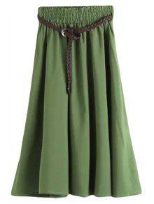 Buy Solid Color Elastic Waist Belt Long Skirt - GREEN L