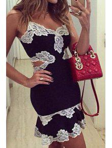 Spaghetti Strap Waist Hollow Out Lace Splicing Dress - Black M