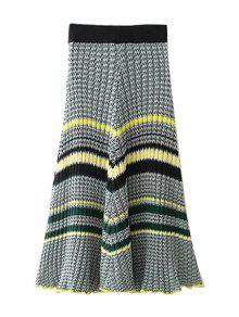 Buy Striped High Waisted Kint Skirt - BLACK ONE SIZE(FIT SIZE XS TO M)
