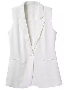 Lapel Pocket Solid Color Sleeveless Waistcoat - White L