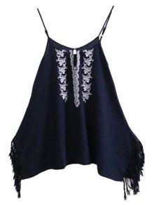 Spaghetti Strap Floral Embroidery Fringe Splicing Dress - Purplish Blue M