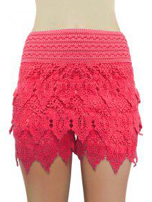 Buy Solid Color Lace Multi-Layered Shorts - RED M