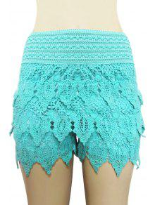 Buy Solid Color Lace Multi-Layered Shorts - AZURE L