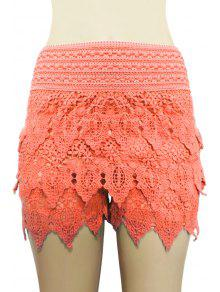 Buy Solid Color Lace Multi-Layered Shorts - ORANGE XL
