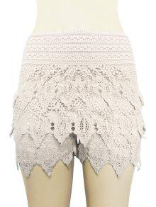 Buy Solid Color Lace Multi-Layered Shorts - OFF-WHITE XL