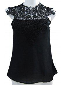 Stand-Up Collar Lace Splicing Backless Tank Top - Black M