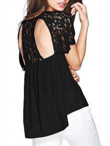 Lace Spliced Short Sleeve Backless Blouse - Black L