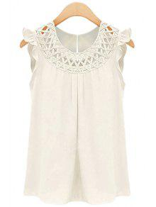 Round Neck Solid Color Openwork Flounce Chiffon Tank Top - White M