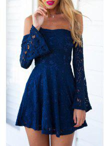 c0d3686cf72b 35% OFF  2019 Blue Lace Off The Shoulder Flare Dress In BLUE