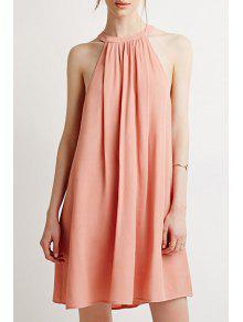 Light Pink Round Neck Sleeveless Dress - Light Pink L