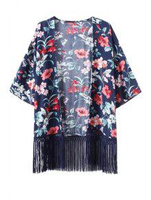 Floral Print Fringe Spliced Kimono Blouse - Blue S