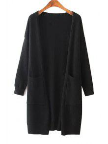 Solid Color Two Pocket Collarless Cardigan - Black