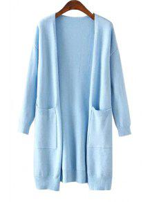 Solid Color Two Pocket Collarless Cardigan - BLUE ONE SIZE(FIT SIZE XS TO M)