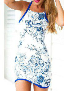Floral Print Packet Buttocks Blue And White Dress - White M
