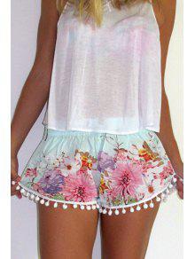 Buy Straight Leg Floral Print Laciness Shorts - COLORMIX L