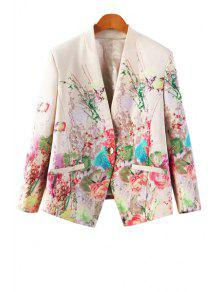 Floral Print One Button Pocket Design Blazer